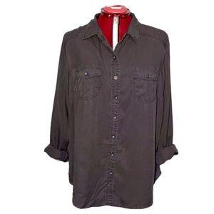 Torrid Button Down Shirt Blouse Slate Grey Sz 2